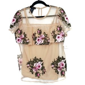 NEW INC Embroidered Sheer Blouse with Camisole
